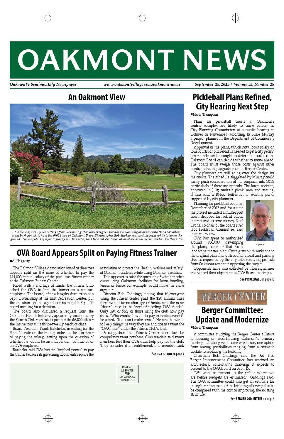 September 15 Edition Of The Oakmont News By Oakmont