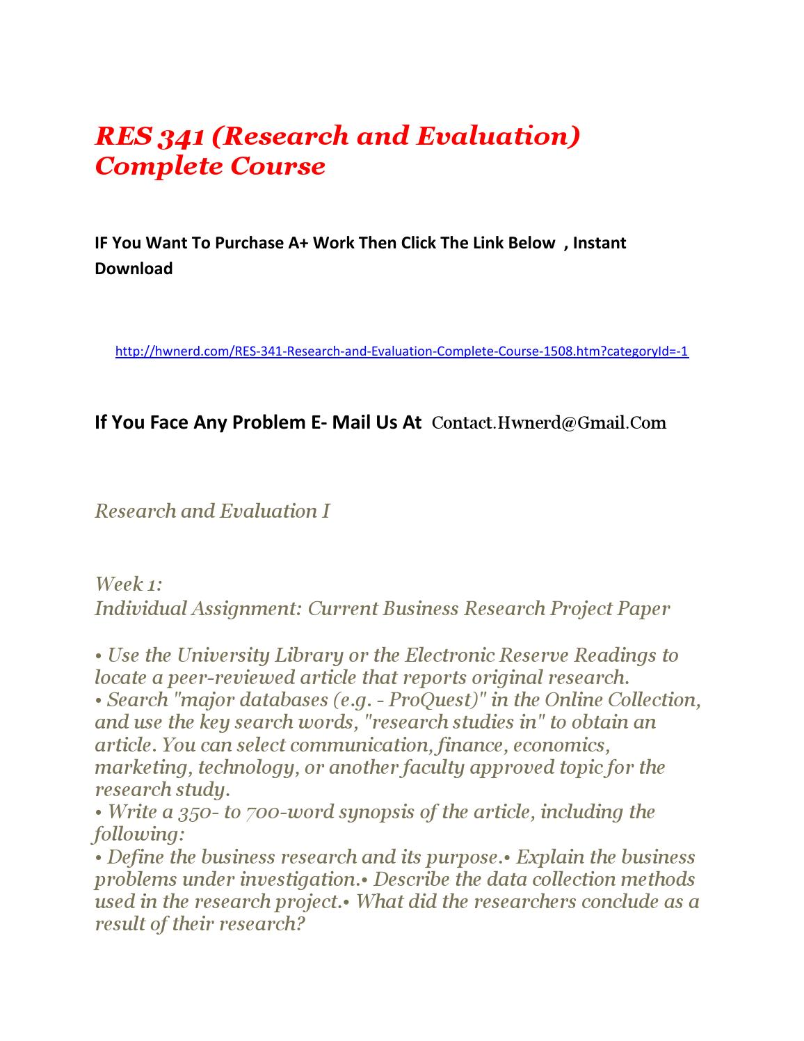 res341 current business research project paper