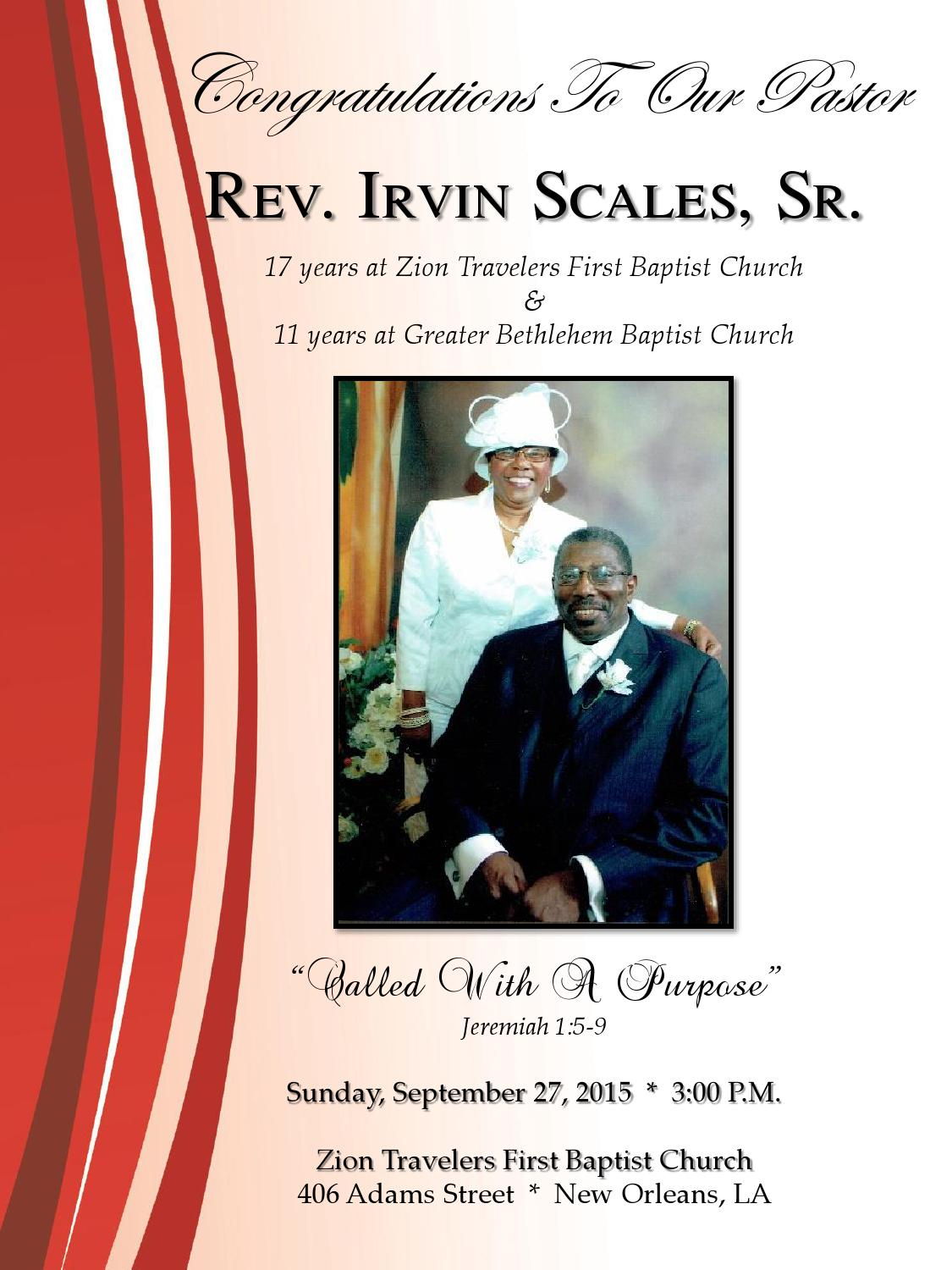 Pastor Irvin Scales Anniversary Program By Our