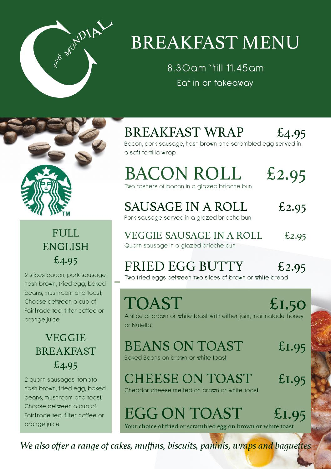 Cafe Mondial Breakfast Menu