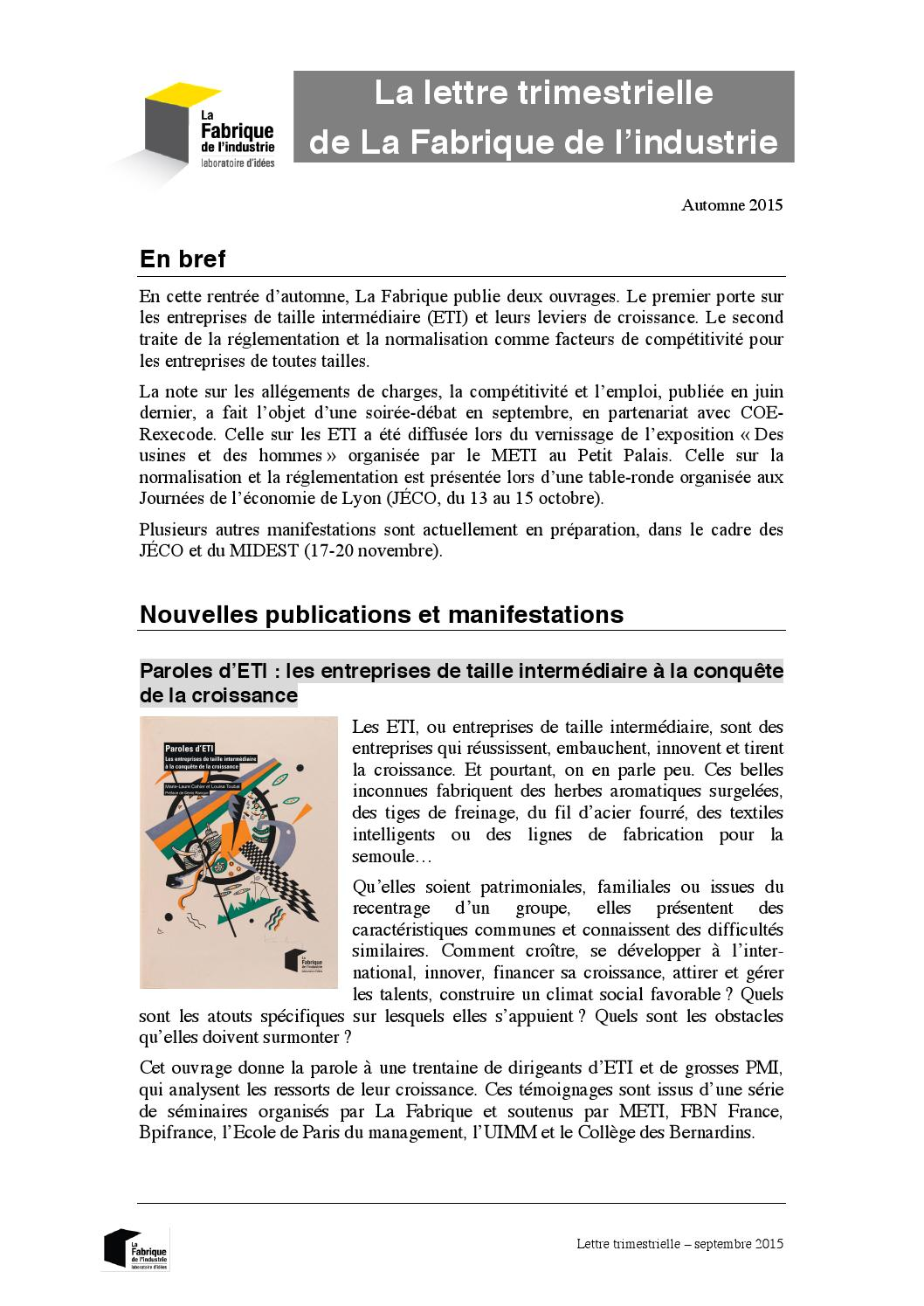 la lettre trimestrielle de la fabrique octobre 2015 by la fabrique de l 39 industrie issuu. Black Bedroom Furniture Sets. Home Design Ideas