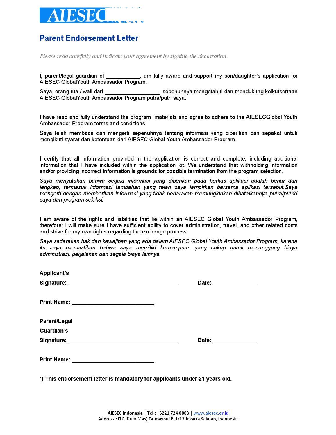 parent endorsement letter by aiesec lc undip tn list issuu