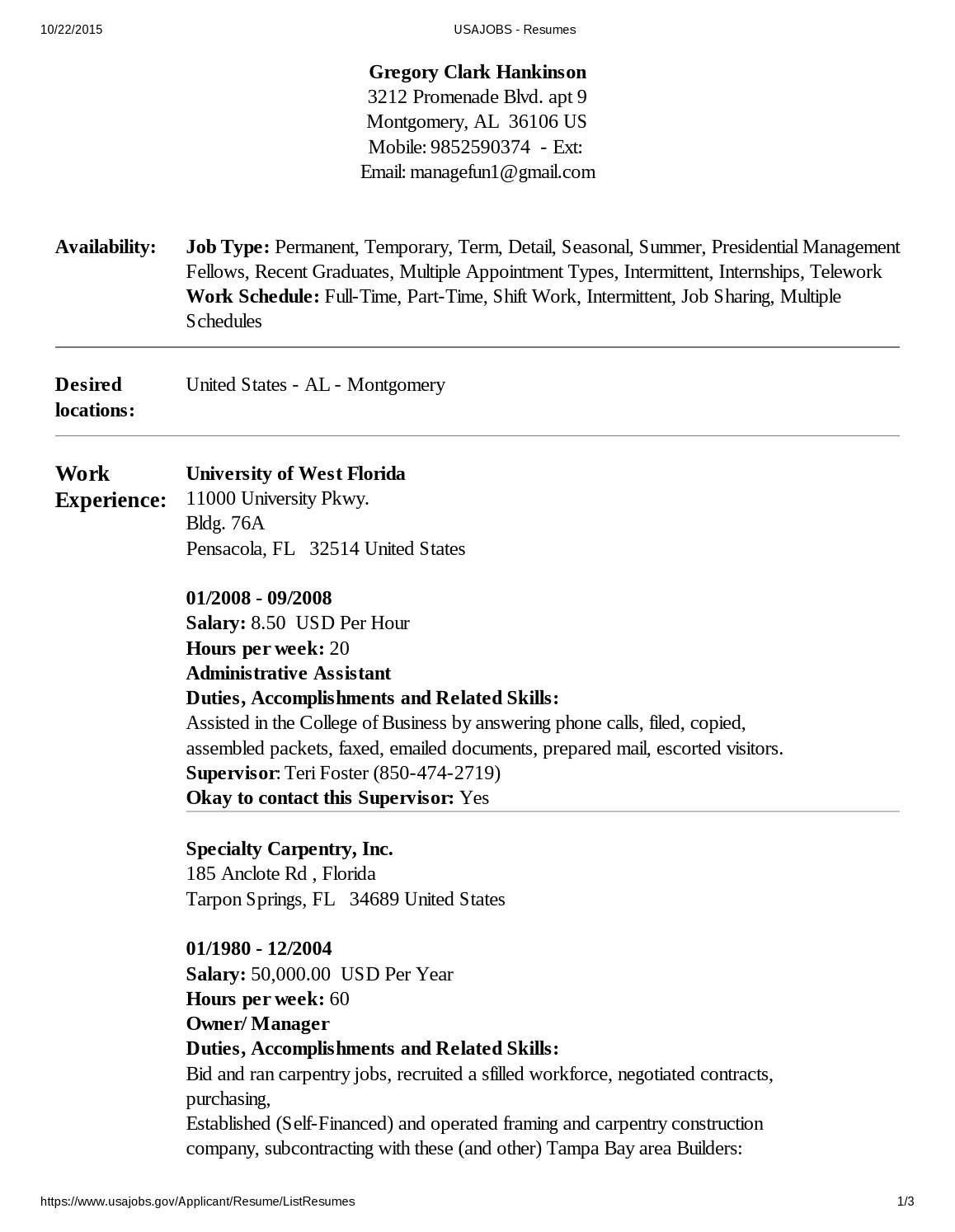 Resume help for www usajobs com