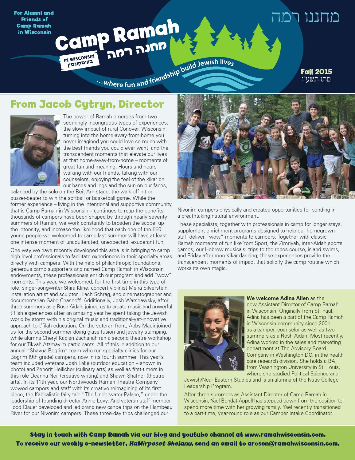 ramah wisconsin fall newsletter 2014 by ramah issuu ramah wisconsin fall 2015 newsletter