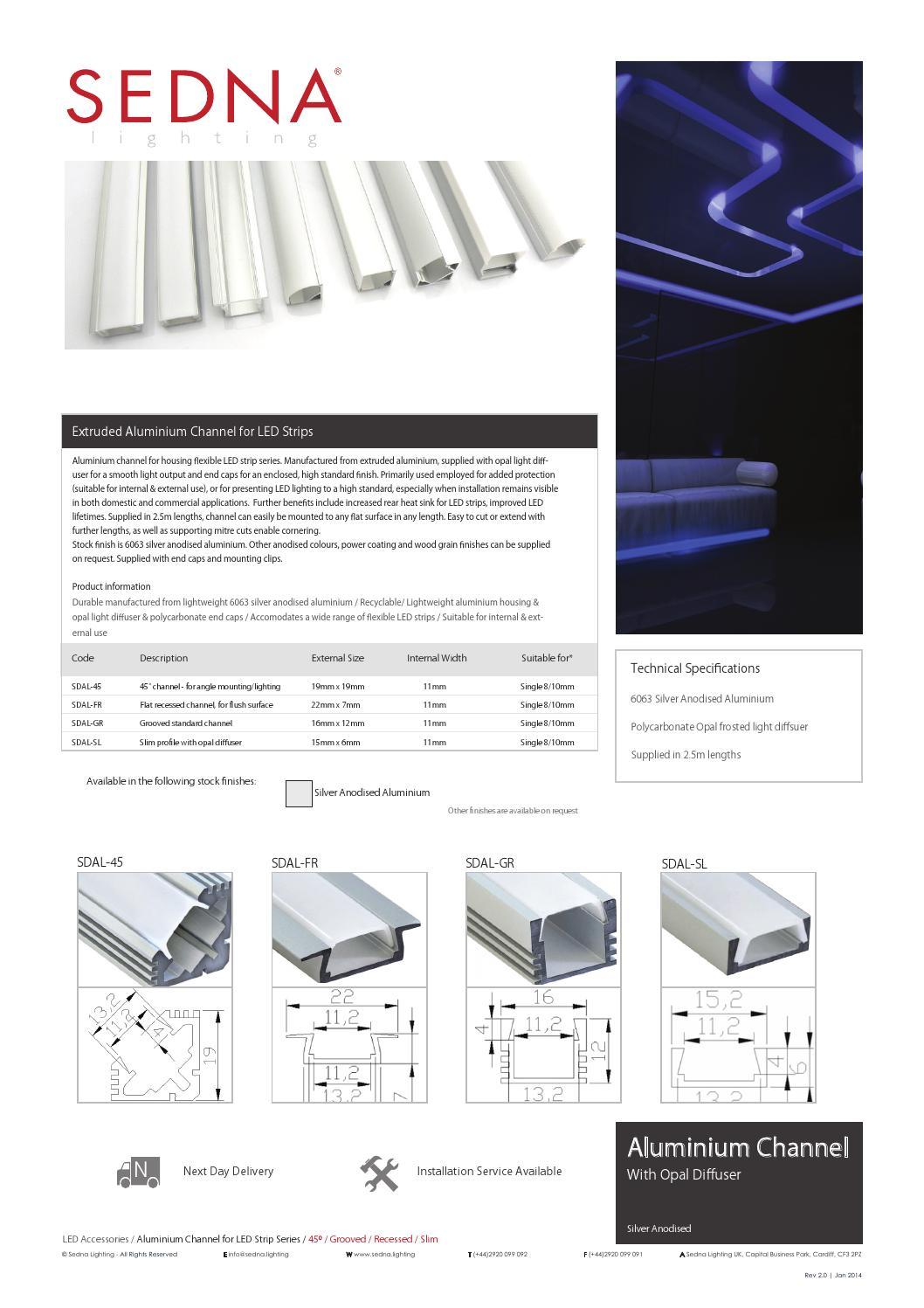 Sedna lighting aluminium channel spec sheet by sedna for Spec home business plan