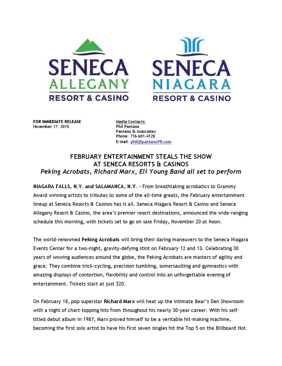 Casino niagara shows schedule