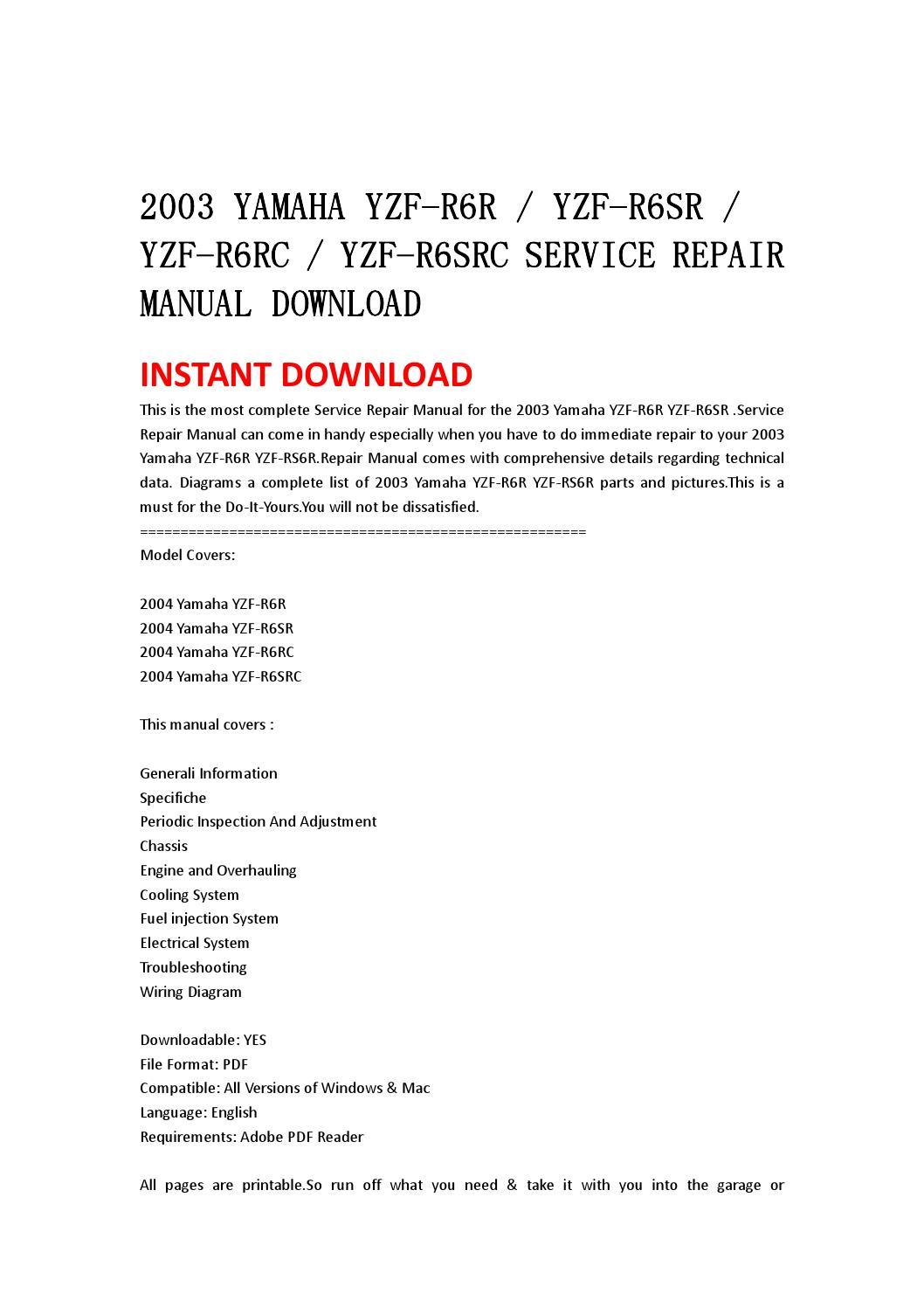 yamaha yzf rr yzf rsr yzf rrc yzf rsrc service repair 2003 yamaha yzf r6r yzf r6sr yzf r6rc yzf r6src service repair manual by jhsefjnse34 issuu