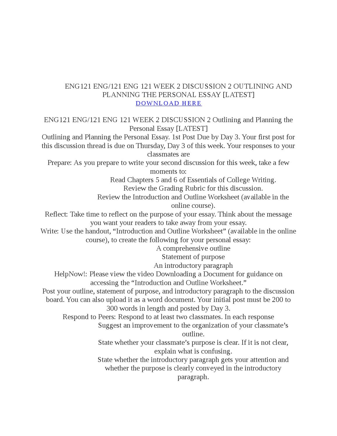 ENG 121 Week 1 Assignment Practice Essay