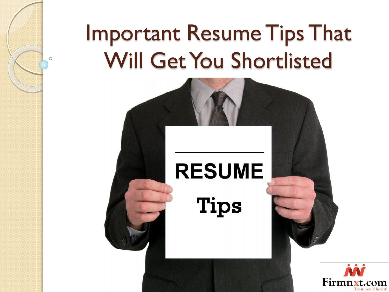 important resume tips that will get you shortlisted by