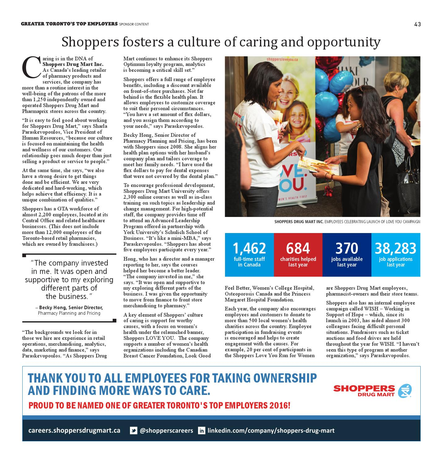 greater toronto top employers by s top employers greater toronto top employers 2016 by s top 100 employers page 43 issuu