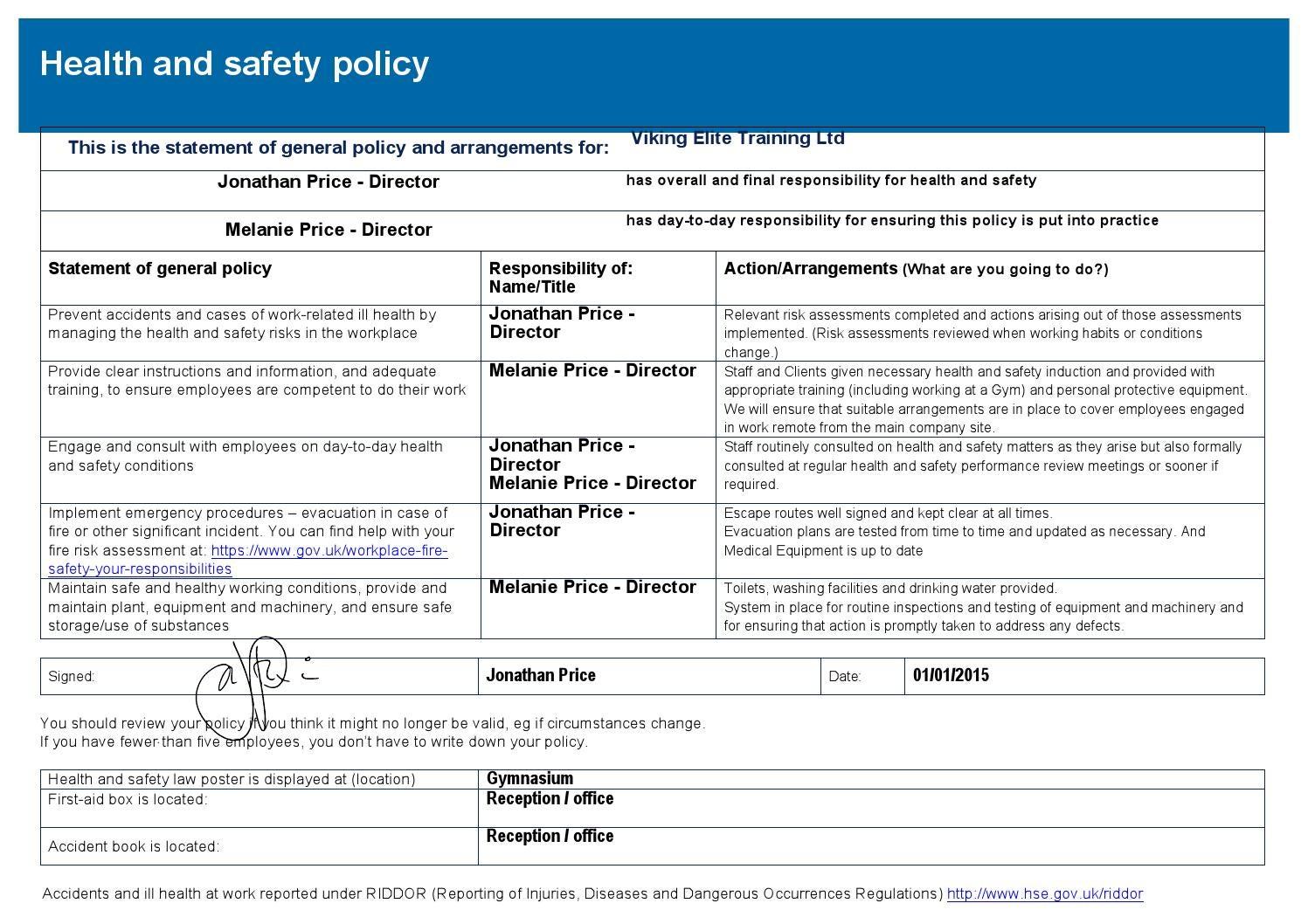 Risk assessment and policy template by jon price issuu for Gardening risk assessment