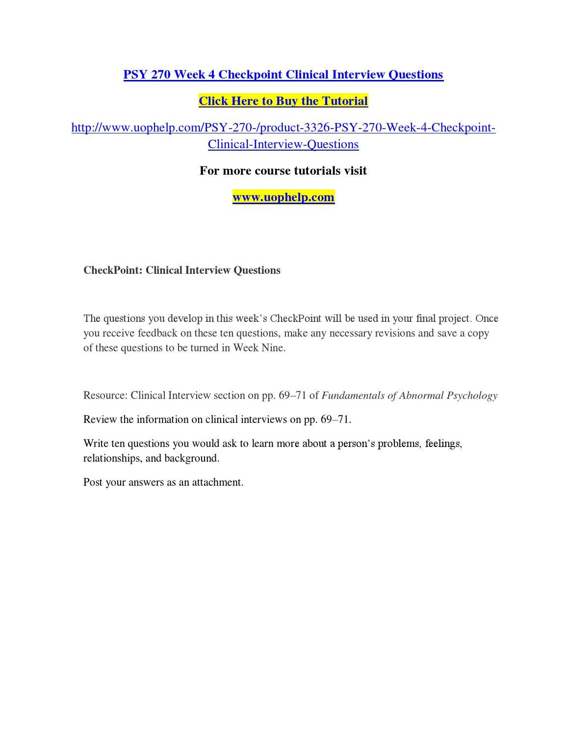 PSY 270 Clinical Interview Questions
