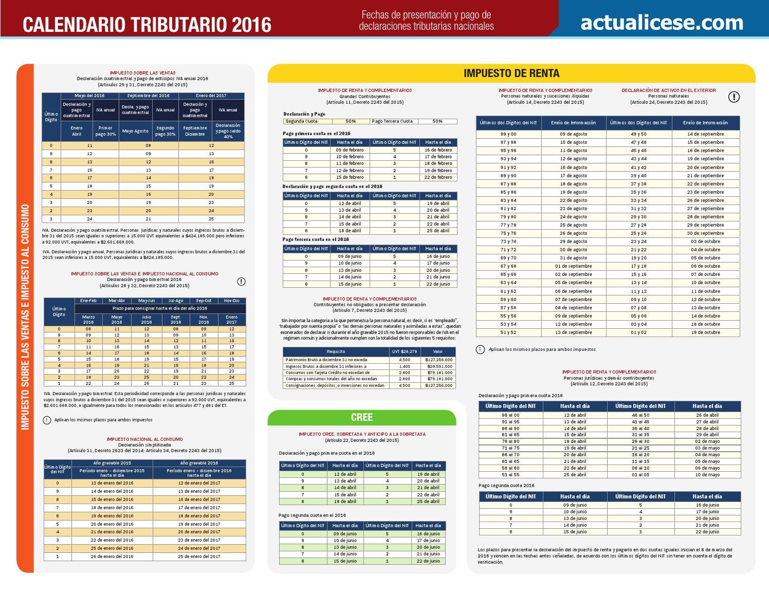 Calendario tributario 2016 regalo by CANAL LOPEZ SAS - issuu