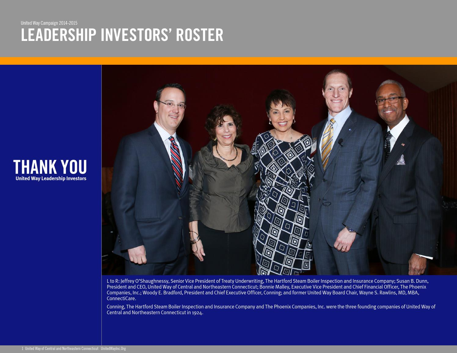 Uwcnct 2014 2015 Leadership Investors Roster By United Way