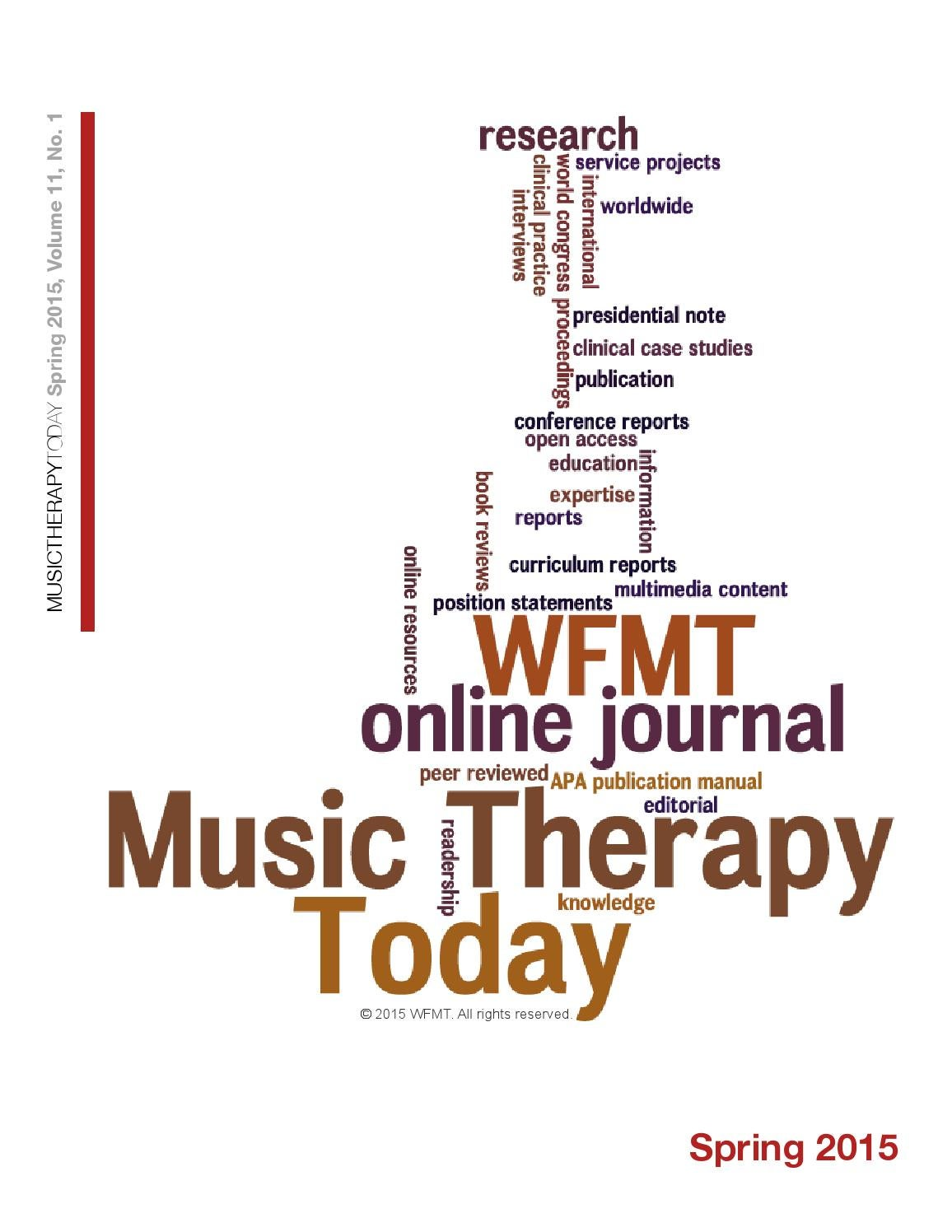 music therapy today vol 9 no 1 special issue by world 1 special issue by world federation of music therapy