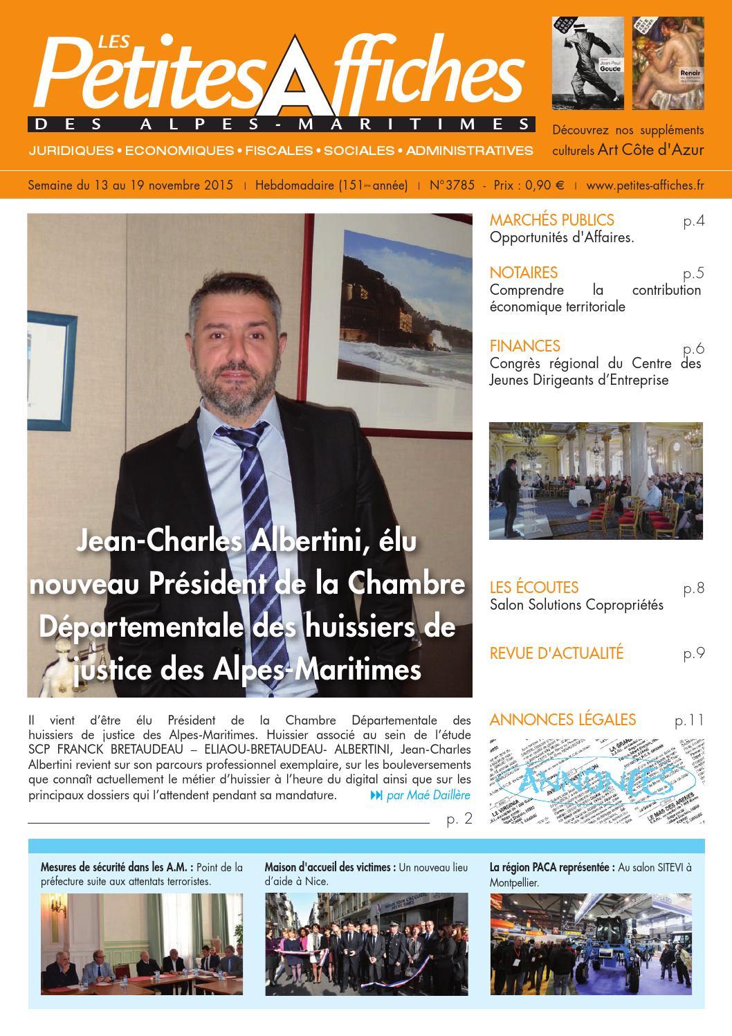 Les petites affiches des alpes maritimes n 3785 du 13 au 19 novembre 2015 by les petites - Chambre des notaires alpes maritimes ...