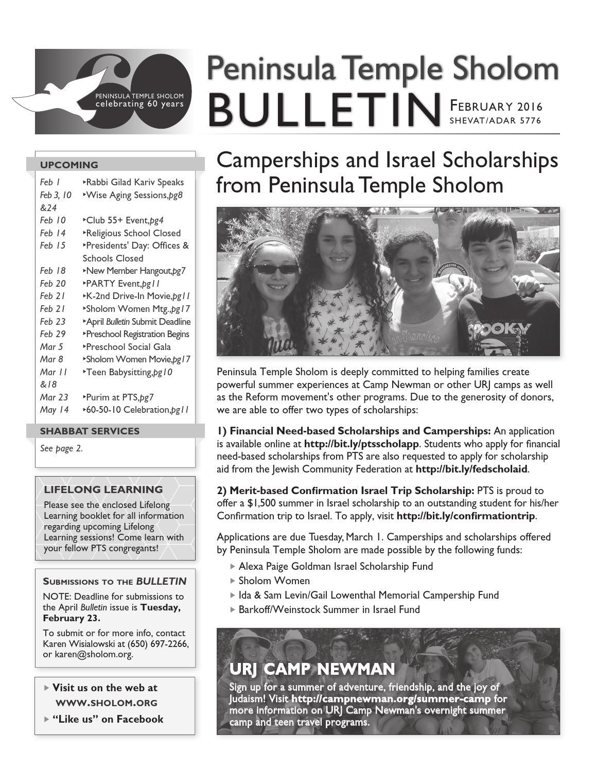 peninsula temple sholom bulletin 2016 by ptsholom issuu