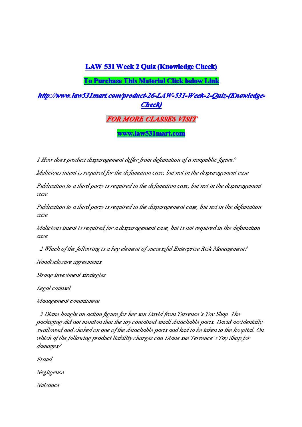 Law 531 quiz