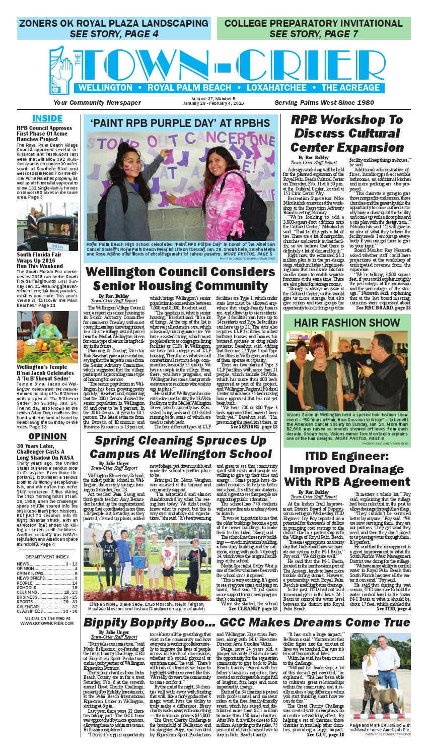 Town Crier Newspaper January 29 2016 By Wellington The Magazine