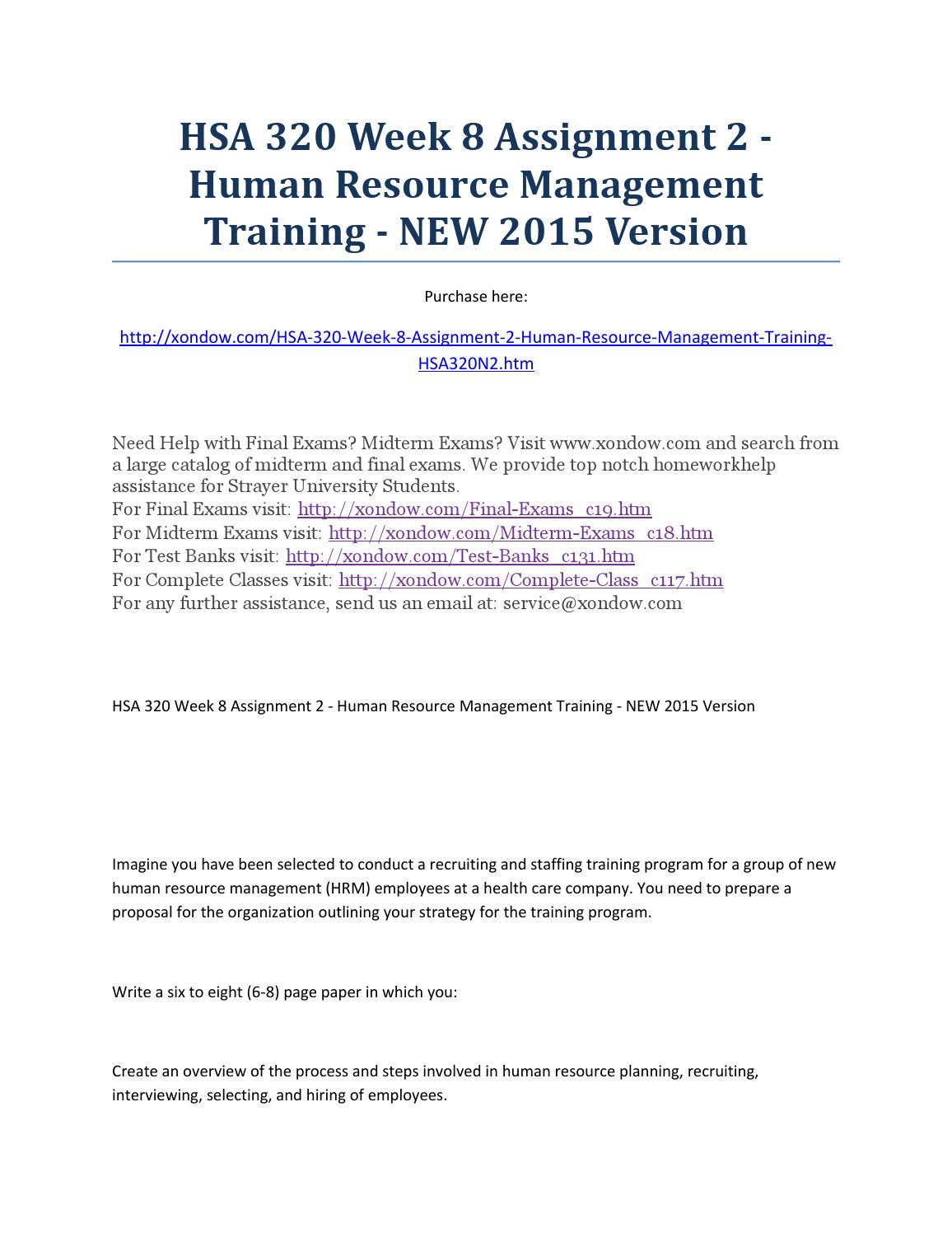 hsa 320 week 8 assignment 2 human resource management training new hsa 320 week 8 assignment 2 human resource management training new 2015 version by xondow