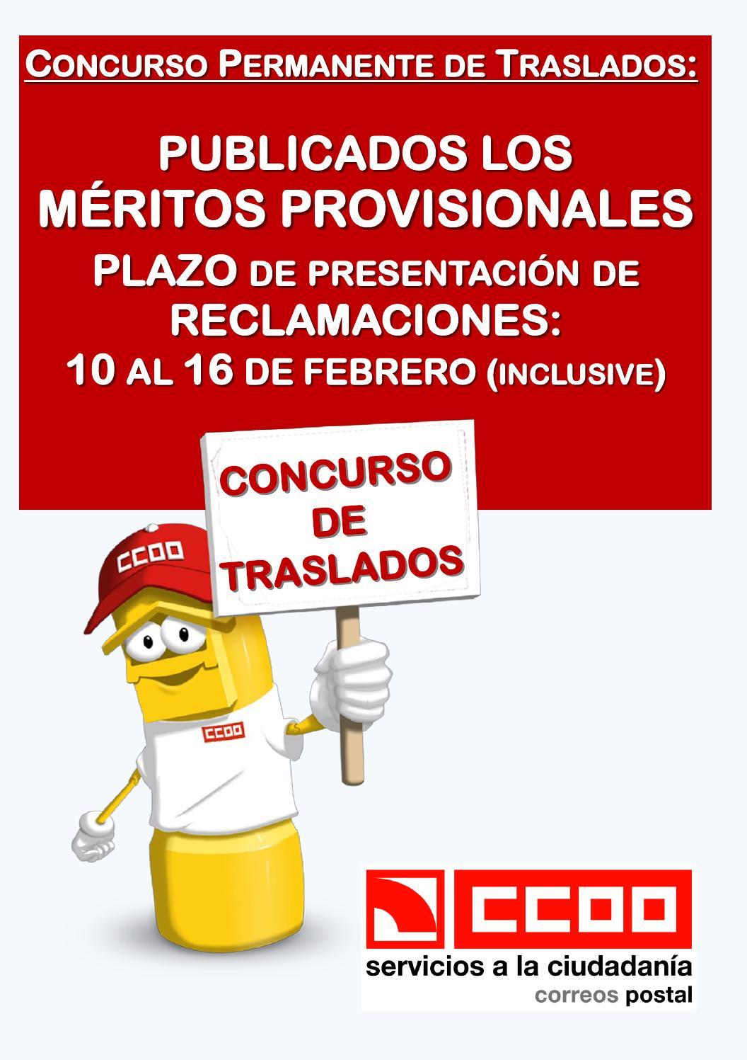 M ritos provisionales del concurso de traslados 2016 by for Ccoo concurso de traslados