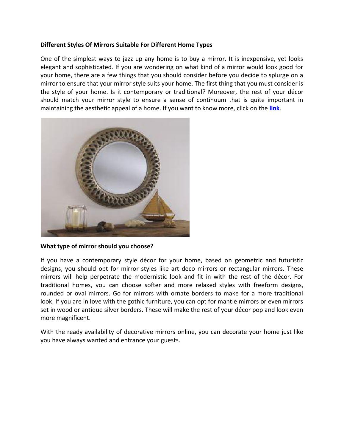 Different styles of mirrors suitable for different home for Types of mirrors around the house