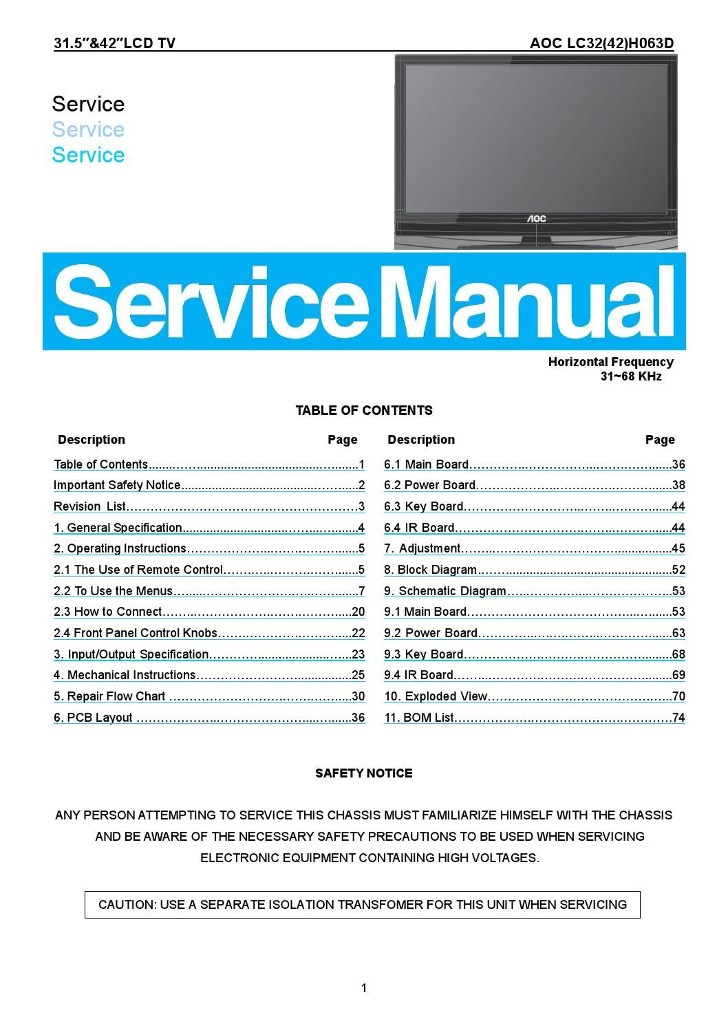 Manual De Servi U00e7o Dos Televisores Aoc Modelos Lc42h063d E