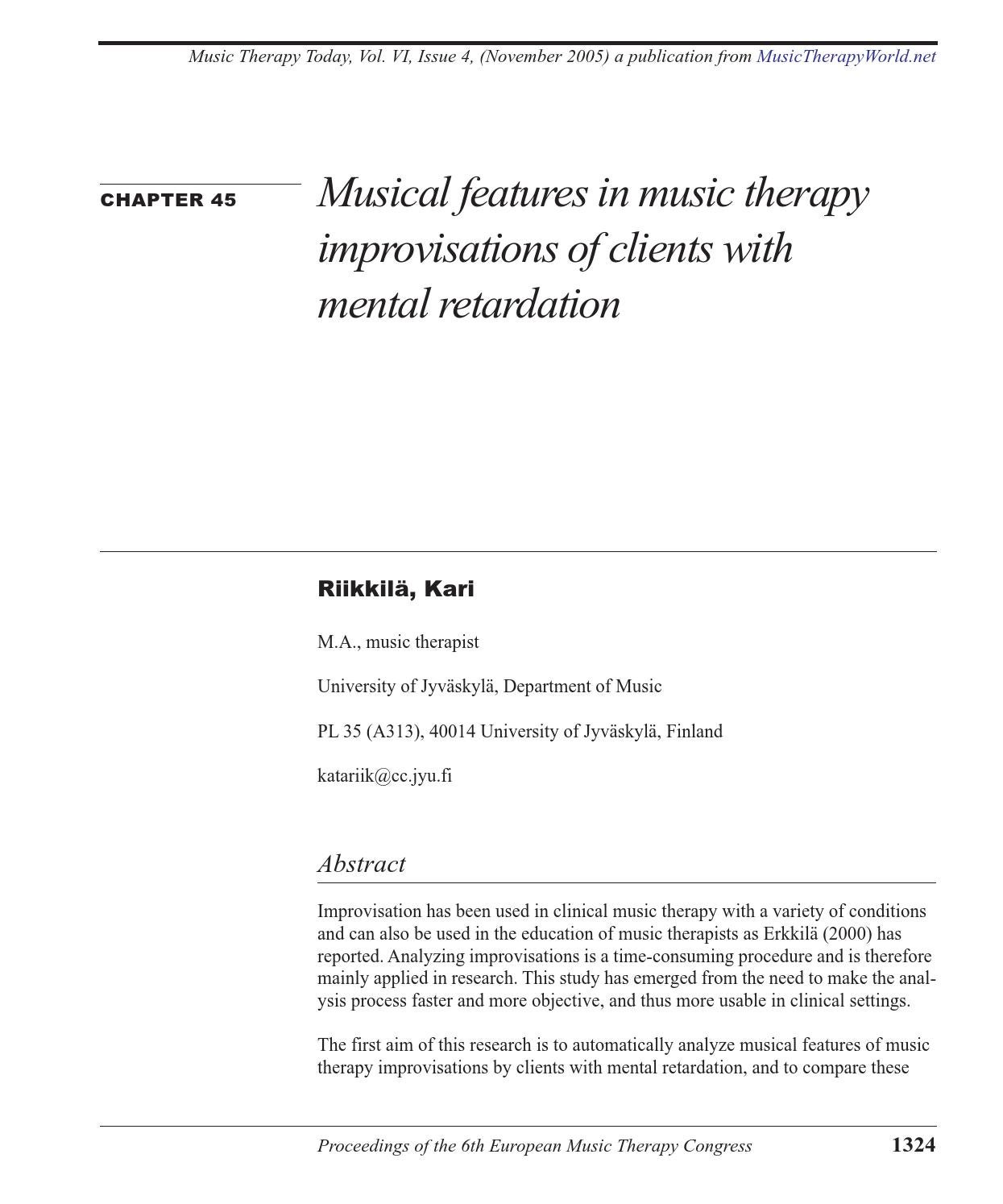 Music therapy essay