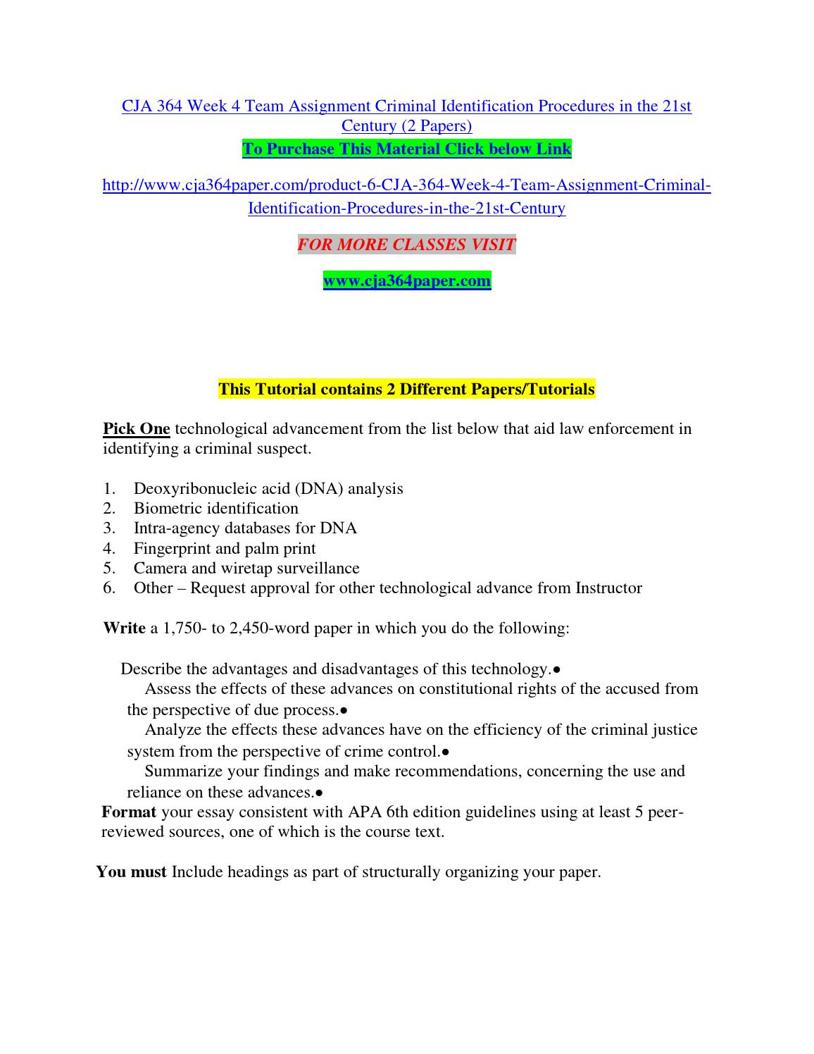 Criminal Identification Procedures in the 21st Century - Research Paper Example