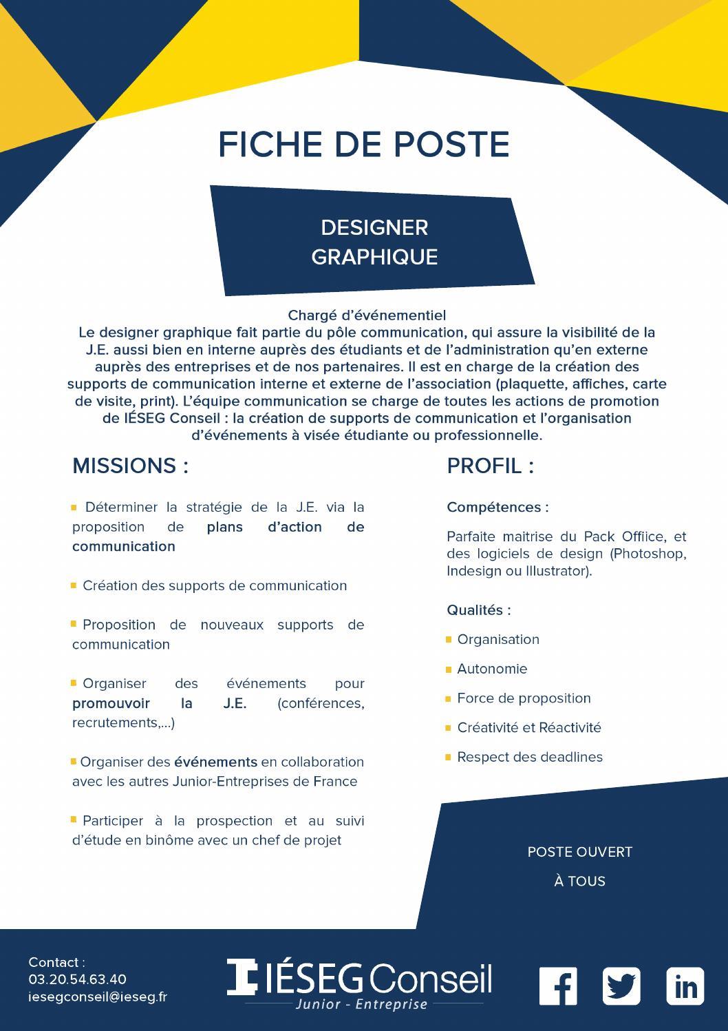 Fiche de poste designer graphique by Équipe Iéseg Conseil ...