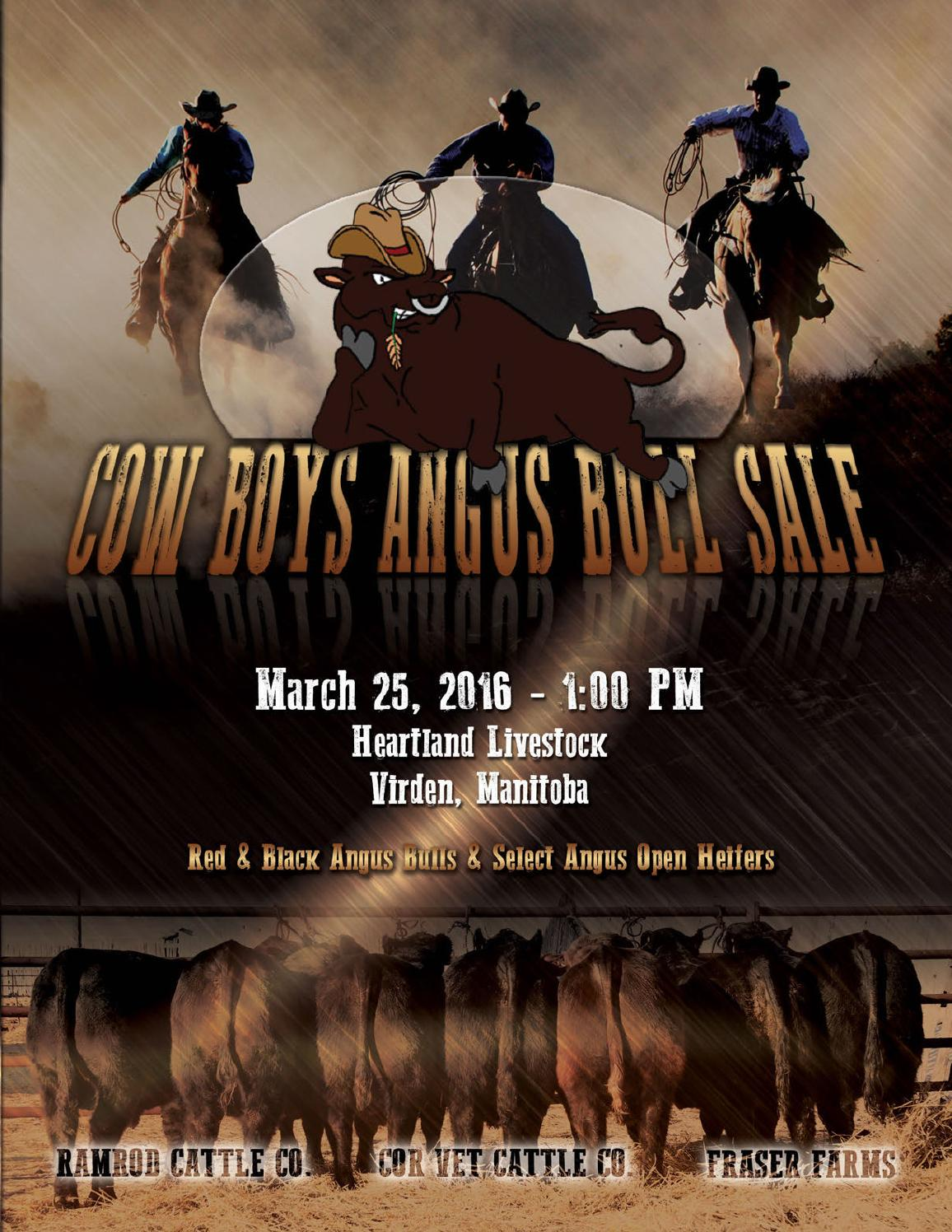 Cow boys angus bull sale 2016 by today 39 s publishing inc for T s dining virden