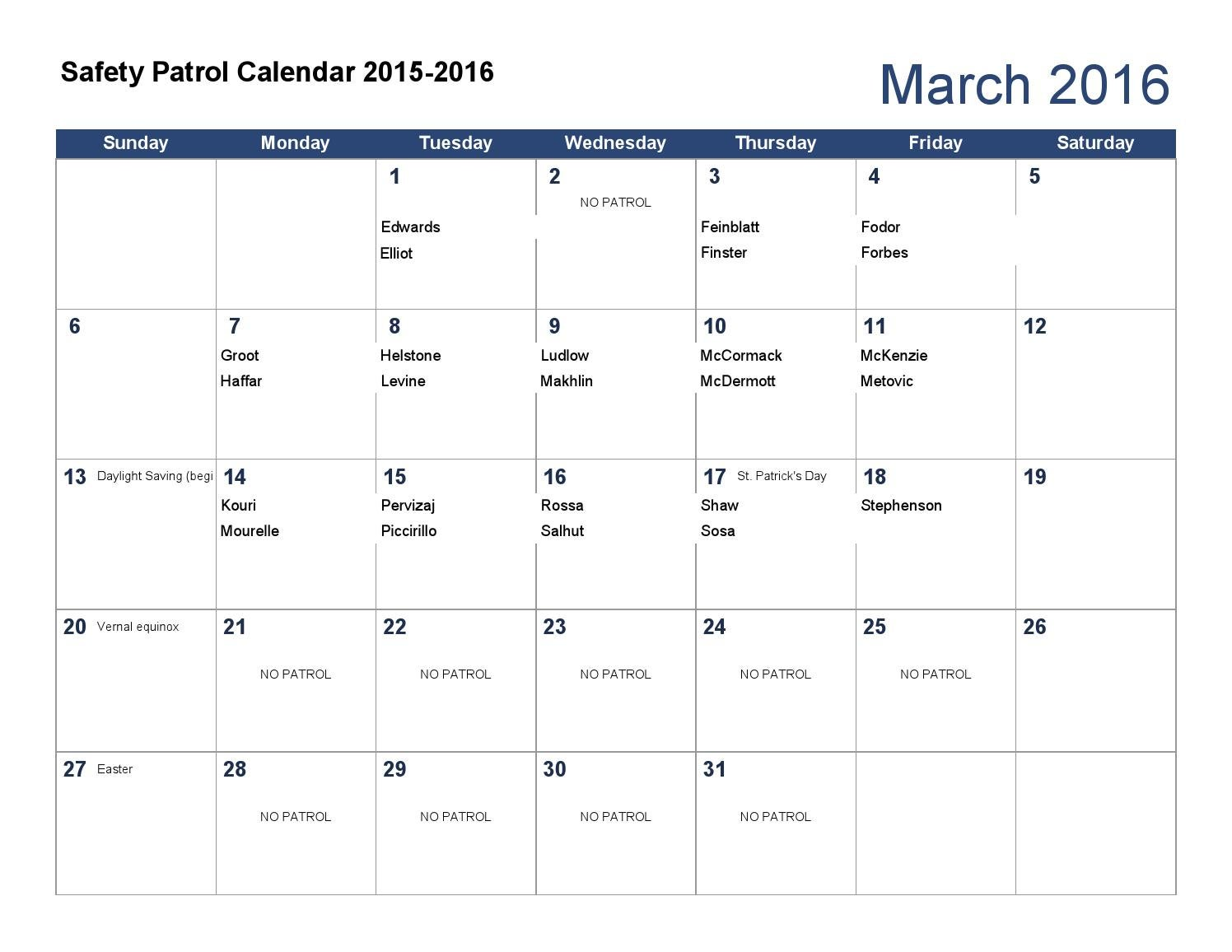 Safety patrol calendar 2015 2016 by The Hewitt School - issuu