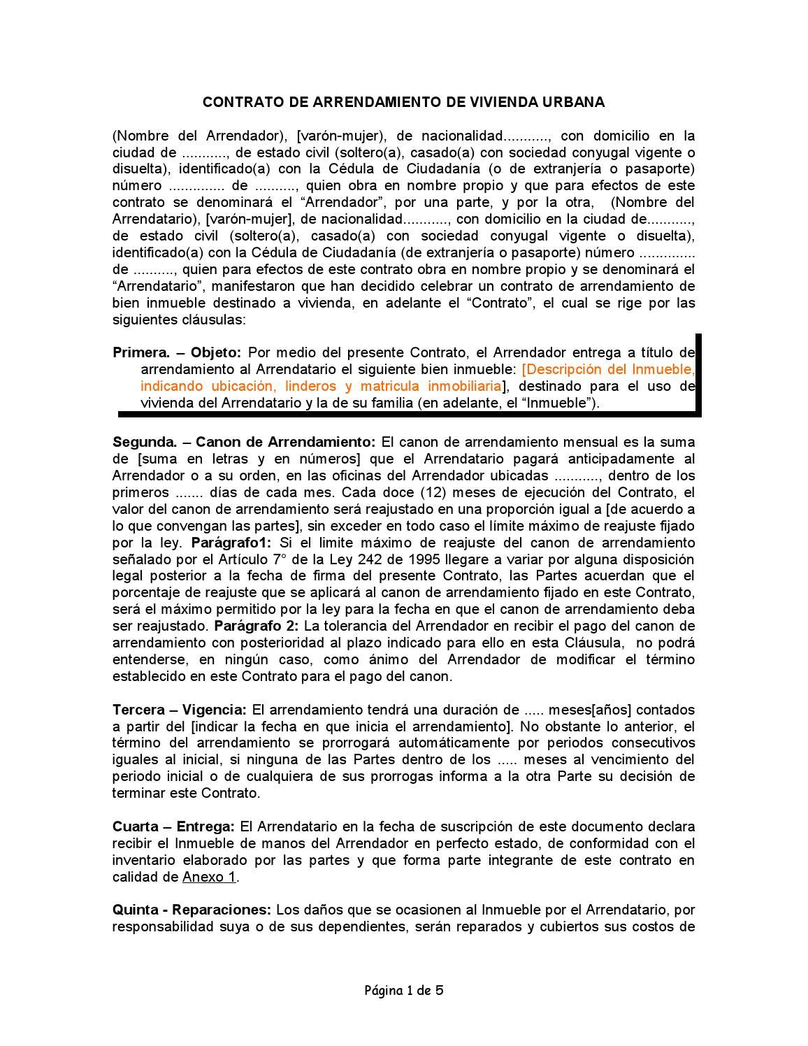 Contrato De Arrendamiento De Vivienda Urbana By Lagasot