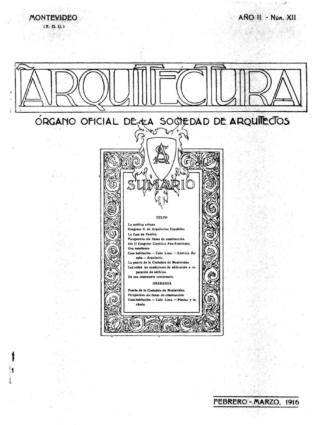 Arquitectura 12 1916 by sociedad de arquitectos del uruguay sau issuu - Sociedad de arquitectos ...