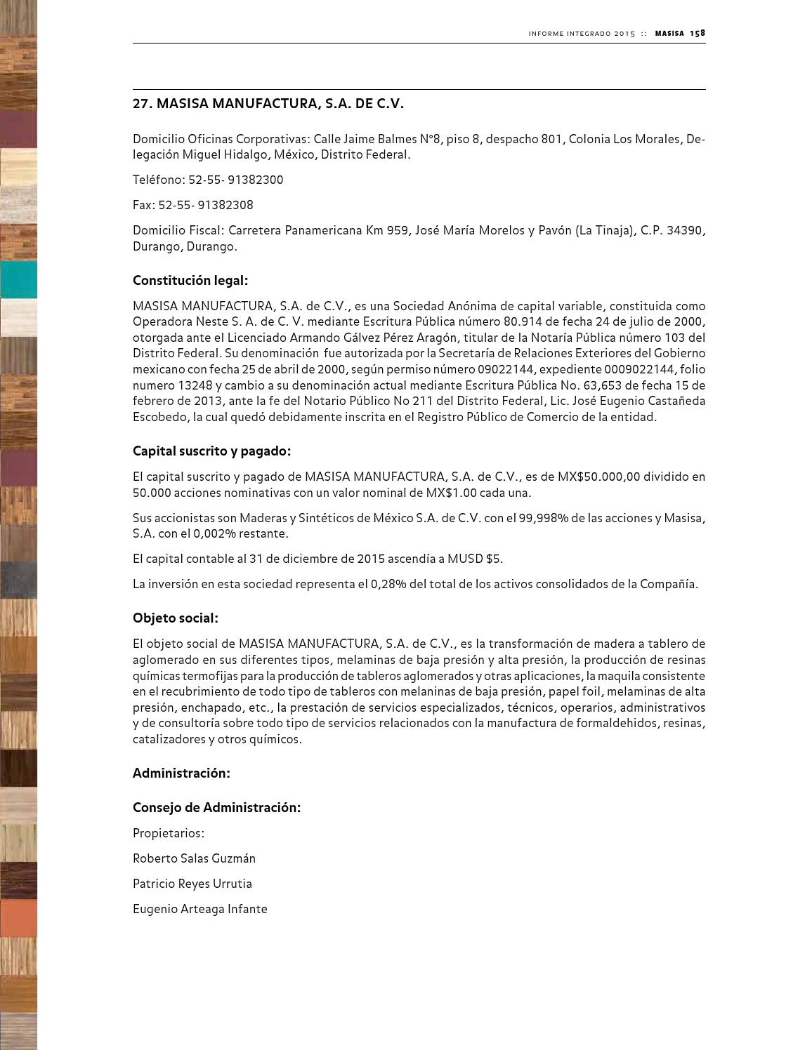 Antecedentes generales by memoria masisa 2015 page 79 issuu - Piso on durango telefono ...