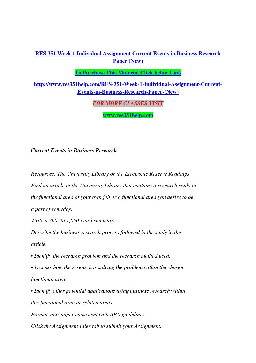 res week individual assignment current events in business res 351 week 1 individual assignment current events in business research paper new by naveencrzn20 issuu