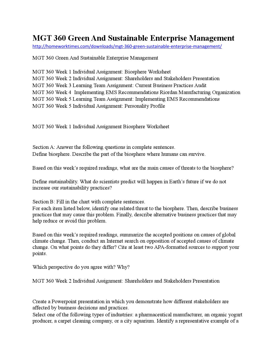 worksheet Biosphere Worksheet mgt 360 green and sustainable enterprise management by hwtimes issuu