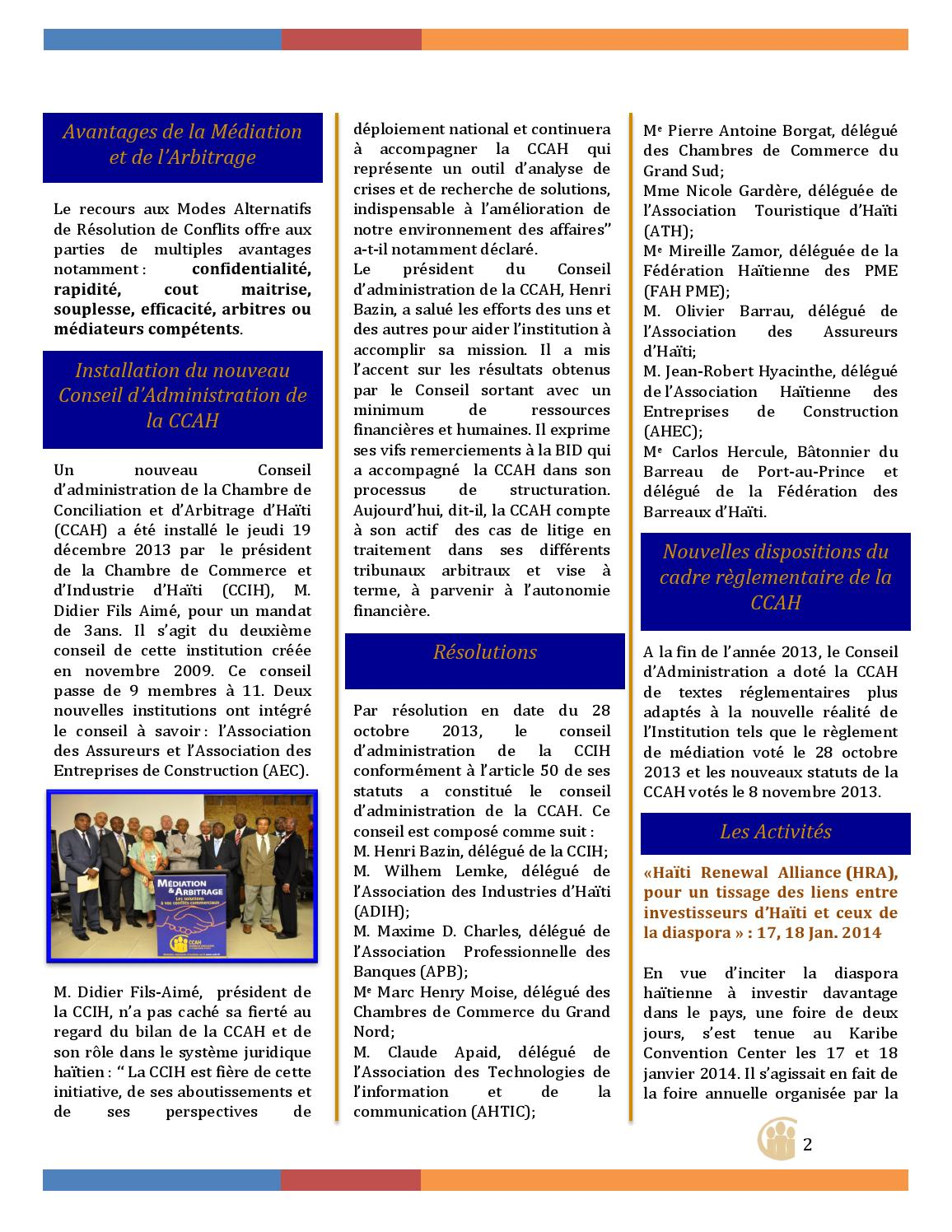 Newsletter edition 1 by chambre de conciliation et d for Chambre de commerce internationale arbitrage
