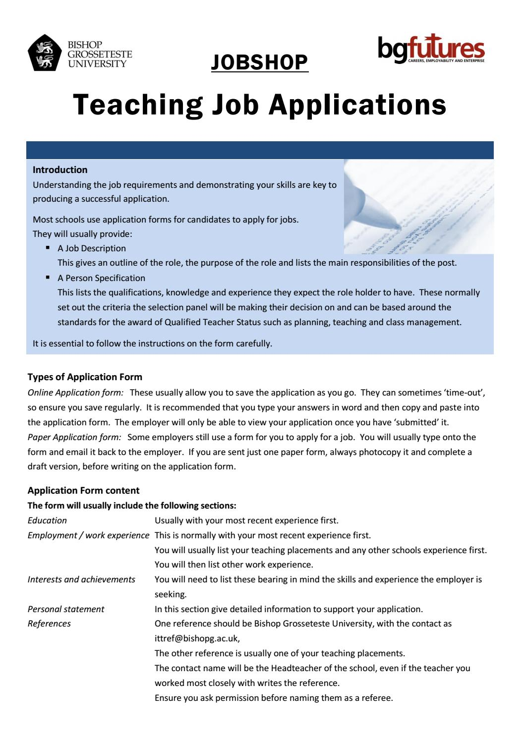 teacher job application format