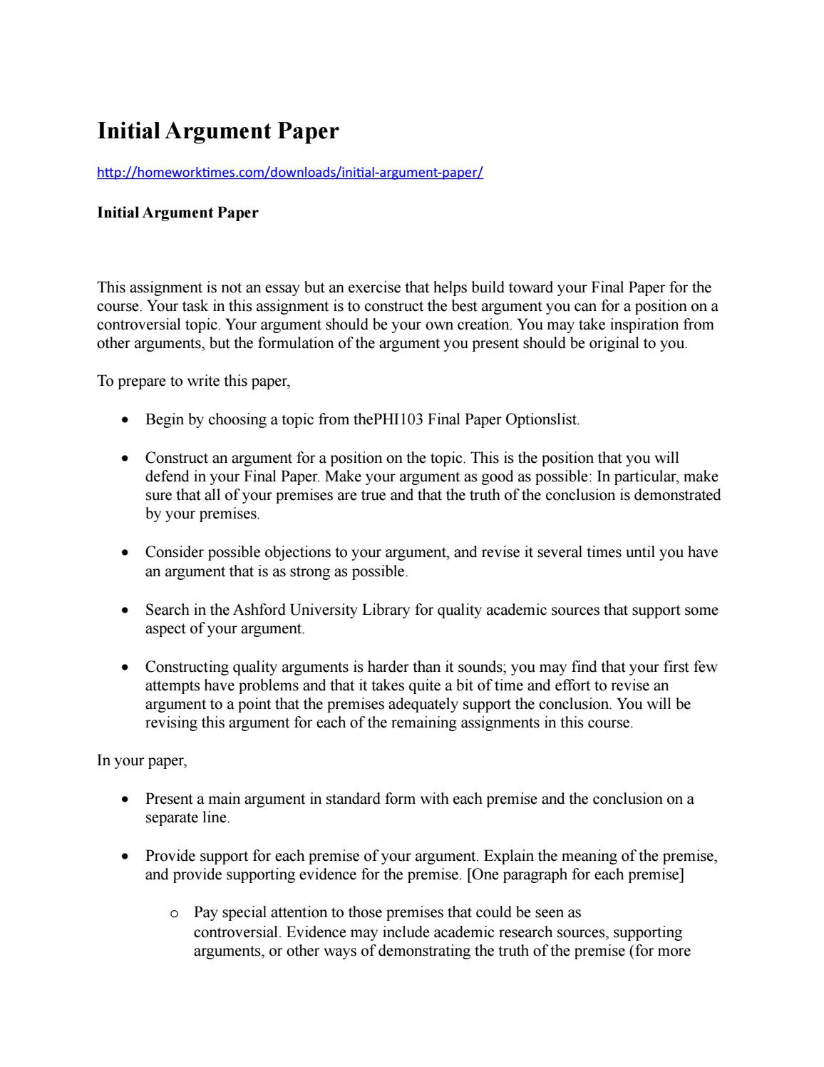 initial argument paper by gloriya devin