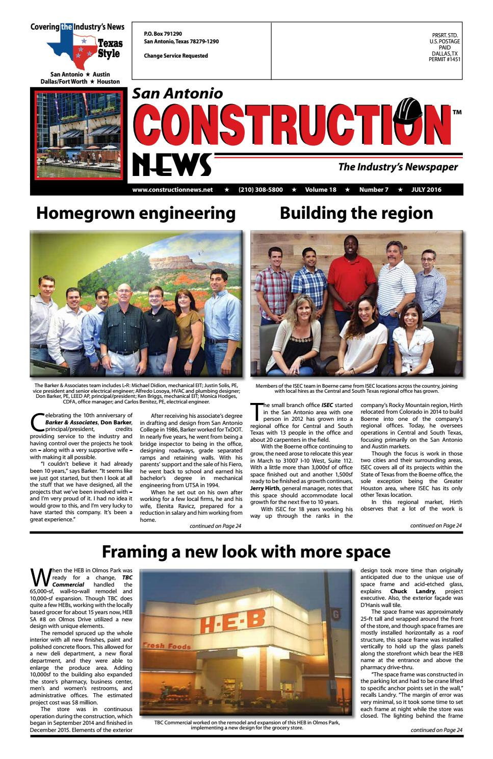 San Antonio Construction News July 2016 By Construction