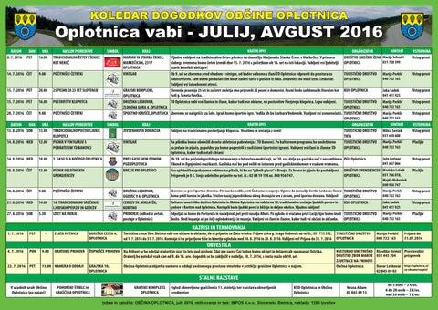 Koledar prireditev občine Oplotnica julij - avgust 2016
