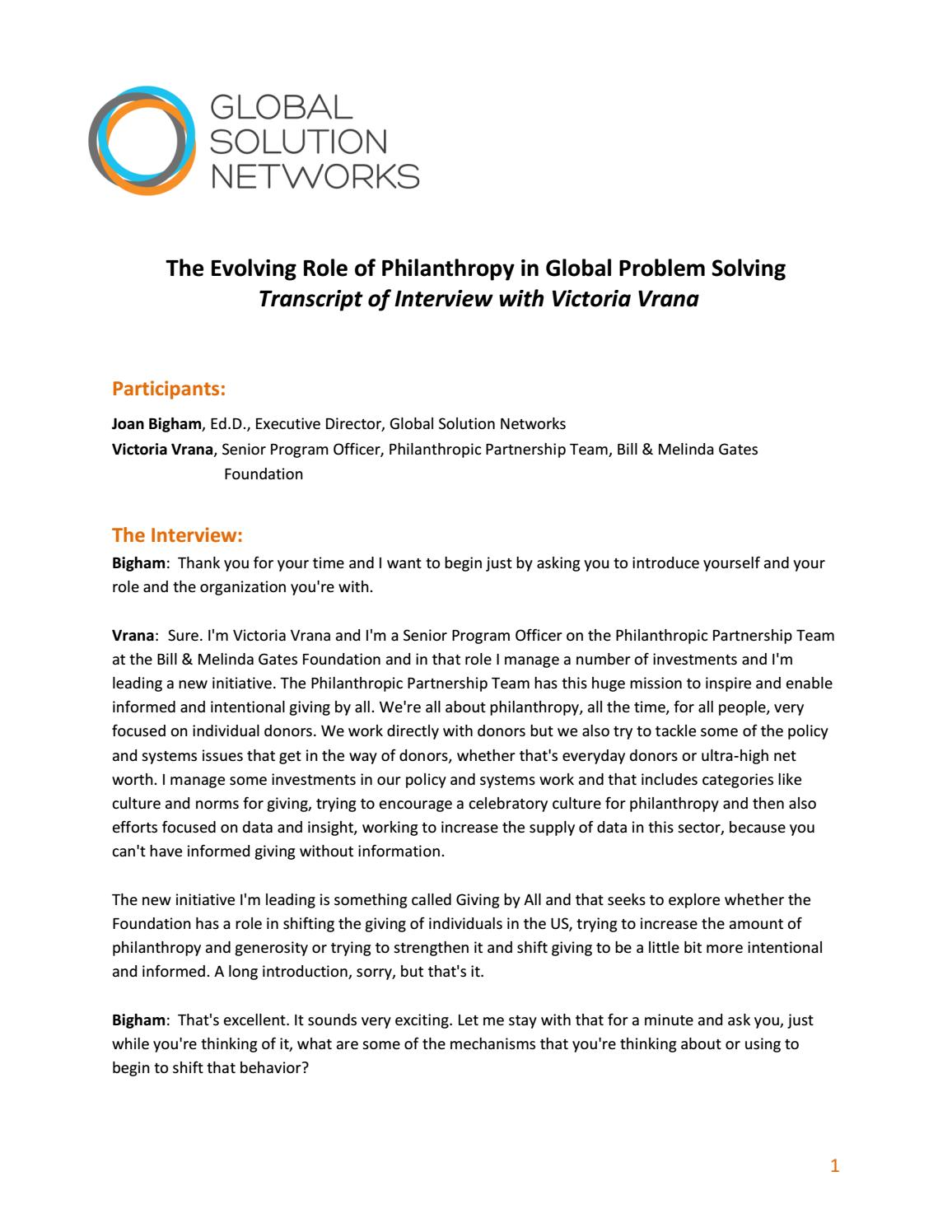 role of philanthropy interview victoria vrana by global role of philanthropy interview victoria vrana by global solution networks page 1 issuu