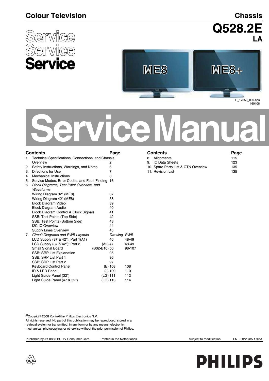 Manual De Servi U00e7o Tv Philips 42pfl7603d 12 Chassis Q528 2e