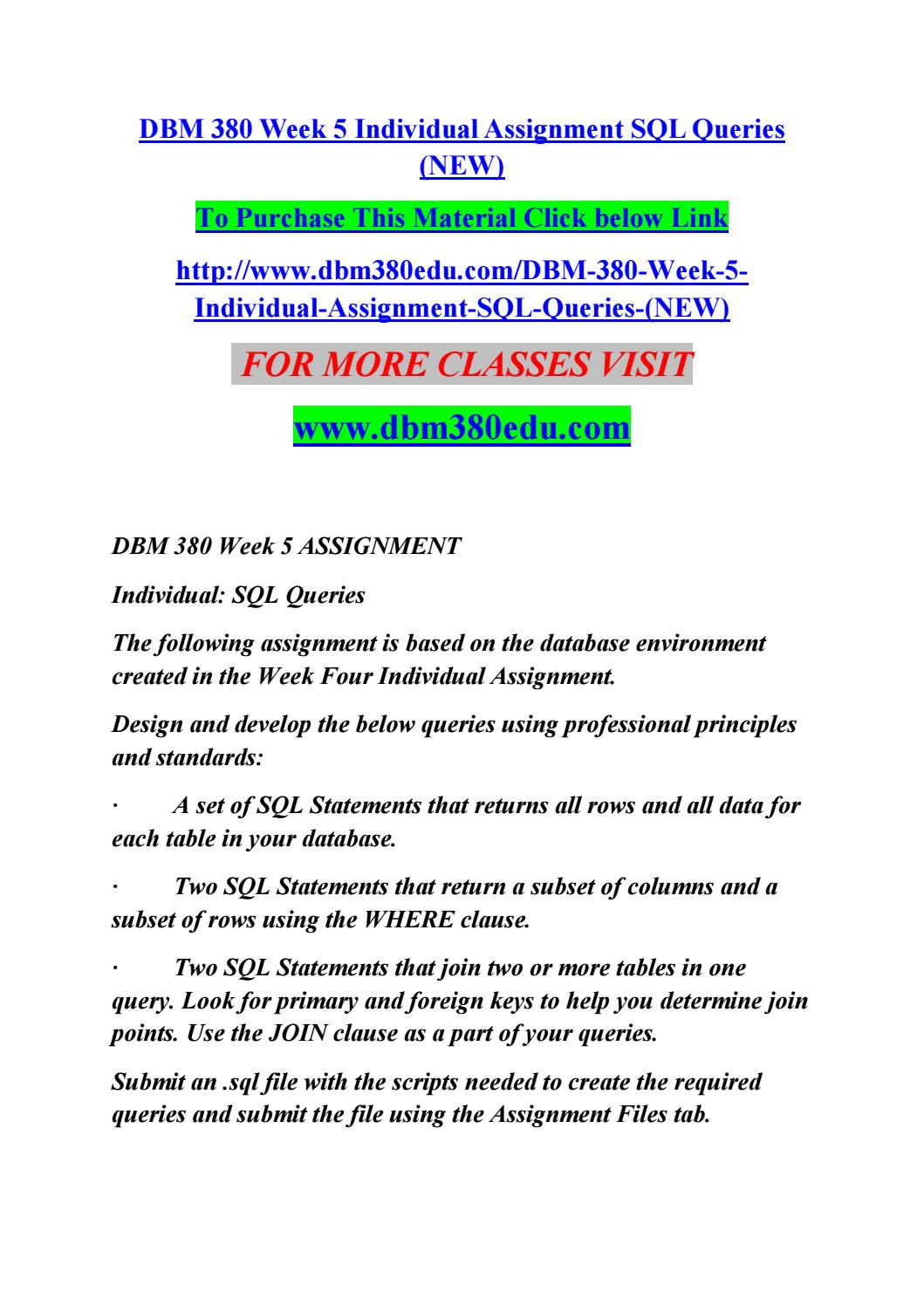 dbm 380 week 5 individual assignment sql queries new by singht dbm 380 week 5 individual assignment sql queries new by singht rock