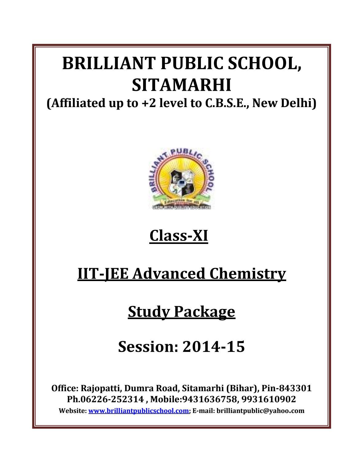 Doc 117 B P S Xi Chemistry Iit Jee Advanced Study Package