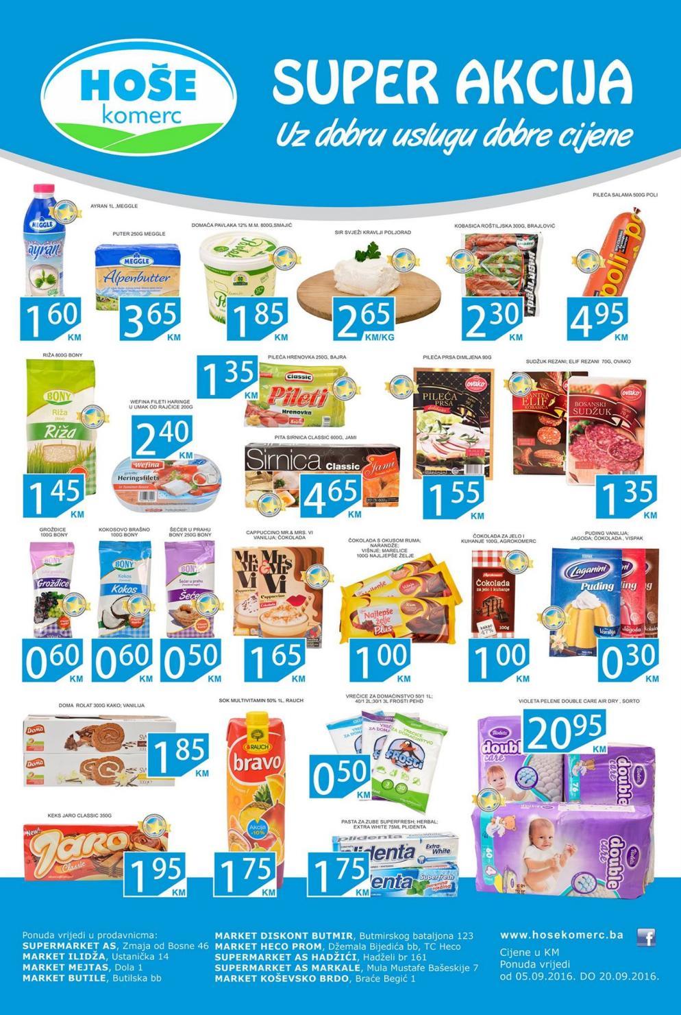 Nova super akcija u Hoše komerc supermarketima od 05.-20.09.2016.