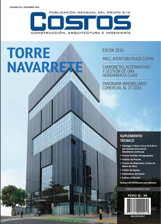 Revista costos septiembre by costos issuu for Cuanto cuesta el metro de hormigon