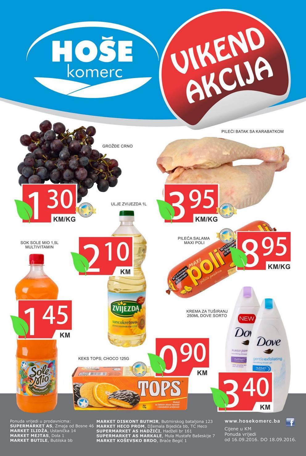 Nova vikend akcija u Hoše komerc supermarketima od 16.- 18.09.2016.