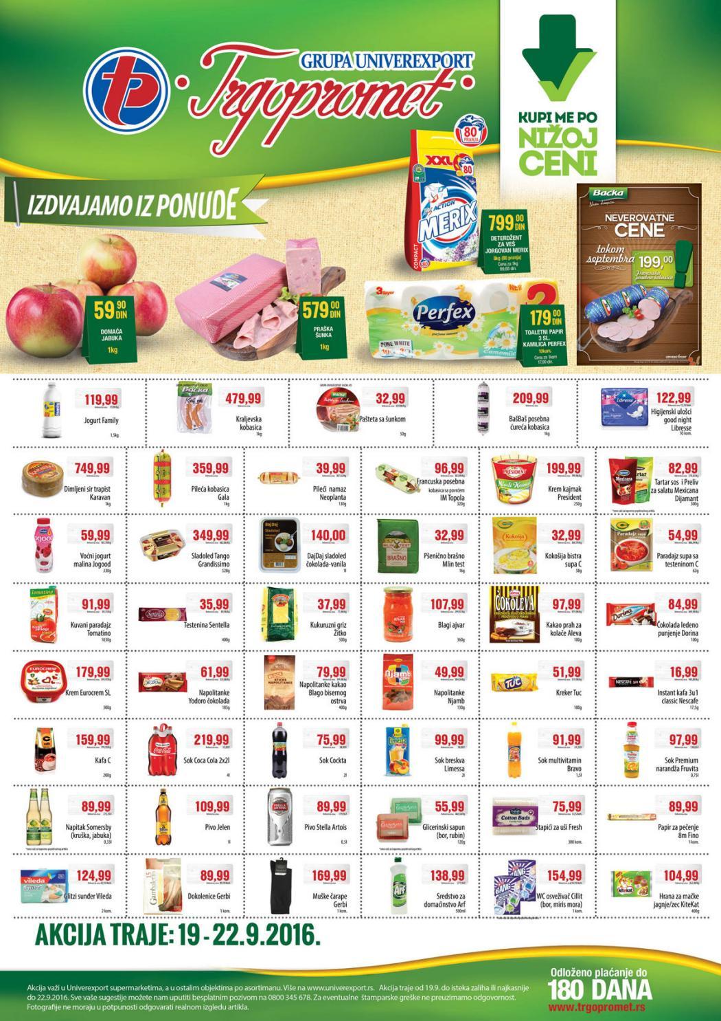 Odlične dnevne akcije i najbolje cene od 19.- 22.09.2016.u Trgopromet supermarketima.